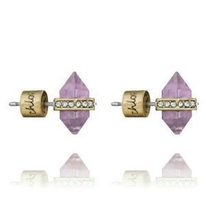 Beautiful amethyst antique gold colored studs NWT
